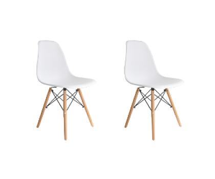 Kit com 2 Cadeira Eames Eiffel Wood - Branca