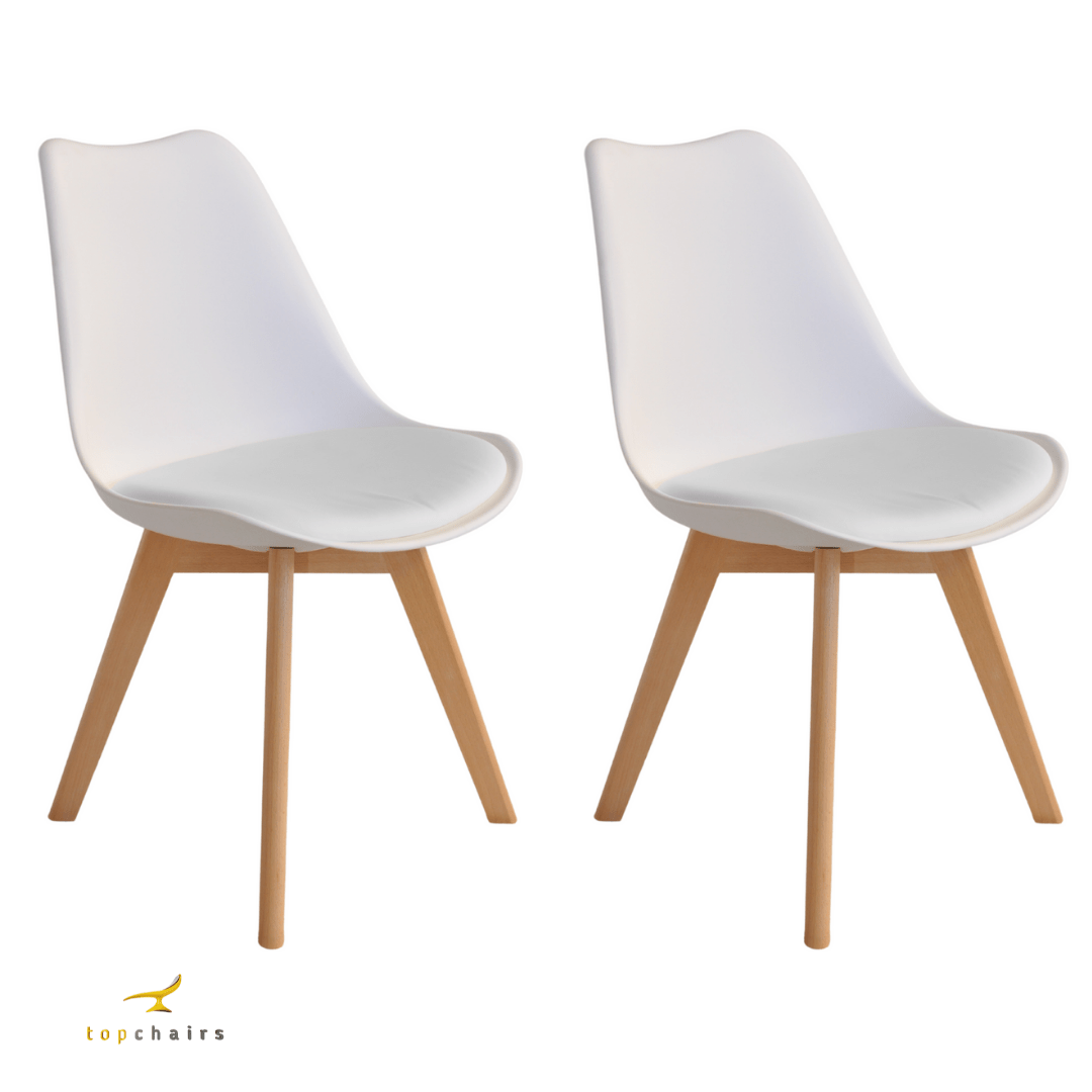 Cadeira Saarinen Wood Branca - Kit com 2