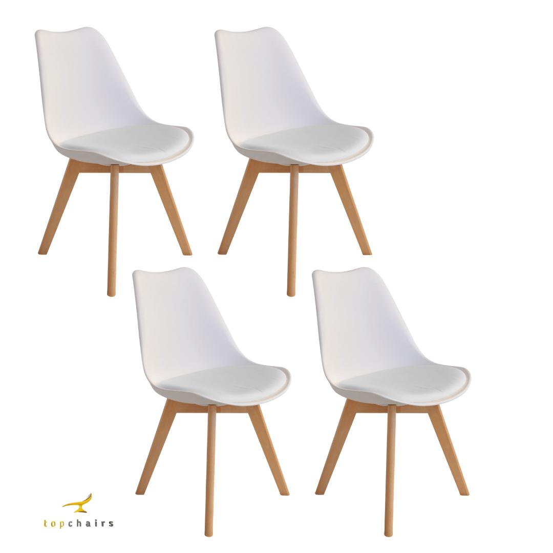 Cadeira Saarinen Wood Branca - Kit com 4