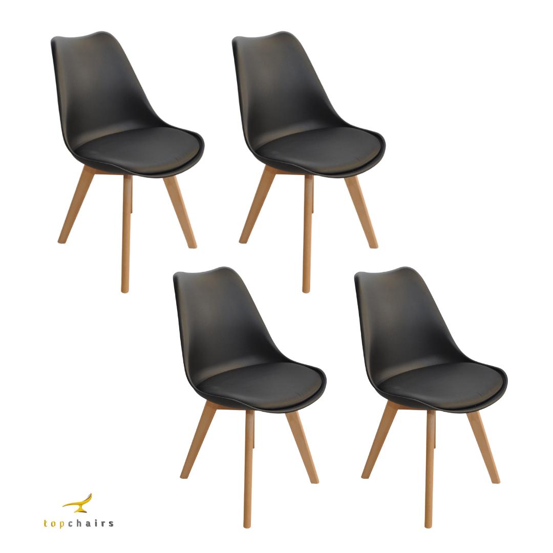 Cadeira Saarinen Wood Preta - Kit com 4