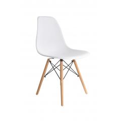 Cadeira Eames Eiffel Wood Branca - Kit com 2
