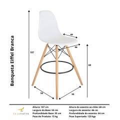 Banqueta Eiffel Wood Branca - kit com 4