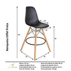 Banqueta Eiffel Wood Preta - kit com 2