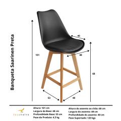 Banqueta Saarinen Wood Preta - Kit com 4