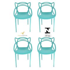 Cadeira Allegra Azul Turquesa/ Tiffany - Kit com 4
