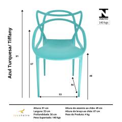 Cadeira Allegra Azul Turquesa/ Tiffany - Kit com 6