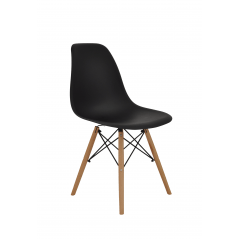 Cadeira Eiffel Wood Preta- Kit com 2