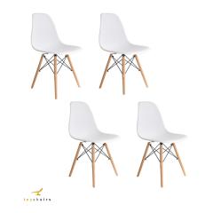 Cadeira Eiffel Wood Branca - Kit com 4