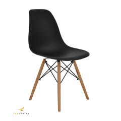Cadeira Eiffel Wood Preta - Kit com 4