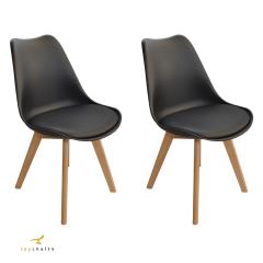 Cadeira Saarinen Wood Preta - Kit com 2