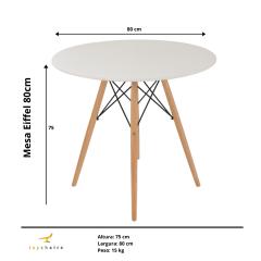 Conjunto Mesa Eiffel Wood 80cm Branca + 4 Cadeiras Eiffel Saarinen Branca