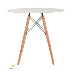 Conjunto Mesa Eiffel Wood 80cm Branca + 4 Cadeiras Eiffel Saarinen Preta