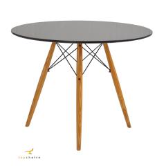 Conjunto Mesa Eiffel Wood 80cm Preta + 4 Cadeiras Eiffel Saarinen Branca