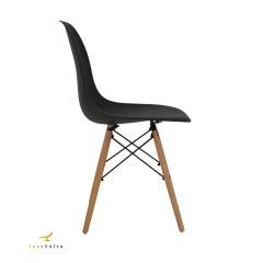 Conjunto Mesa Eiffel Wood 80cm Preta + 4 Cadeiras Eiffel Wood Preta